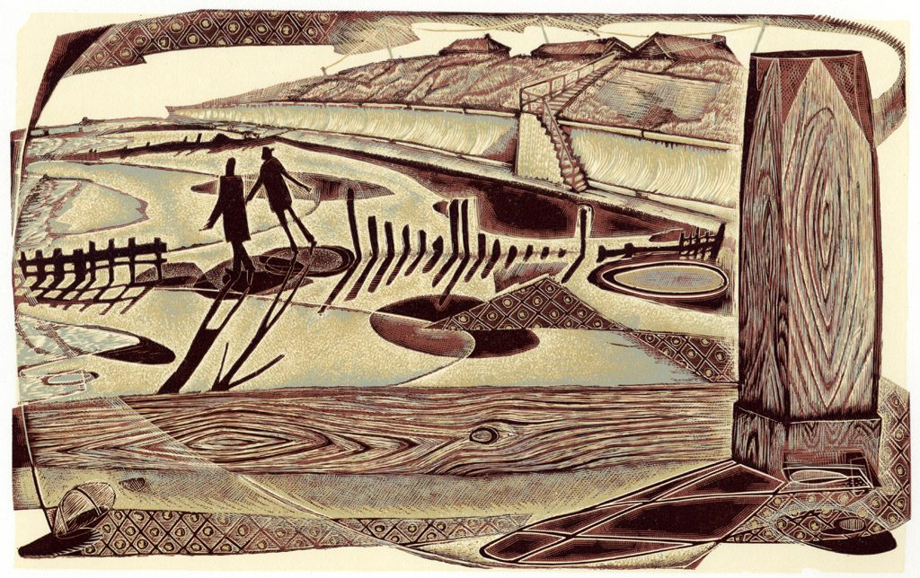 Daydreamers At Happisburgh - wood engraving