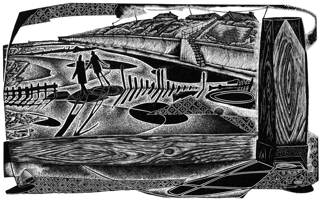 Daydreamers At Happisburgh - black & white edition - wood engraving
