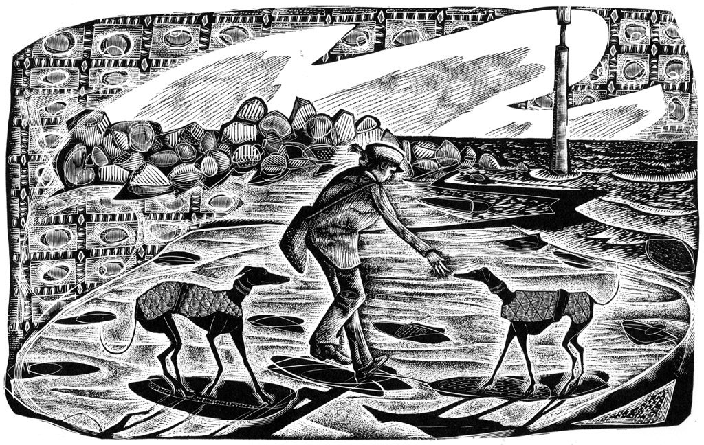 Eccles Sunrise - black & white edition - wood engraving