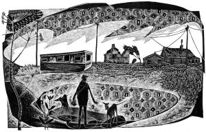 A Happisburgh Caravan - black & white edition - wood engraving
