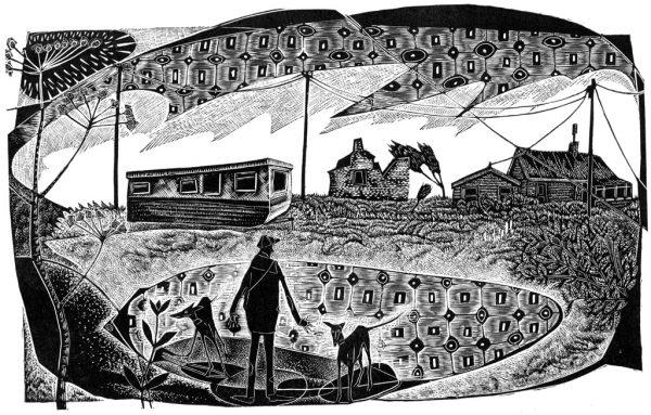 A Happisburgh Caravan - black & white edition - wood engraving