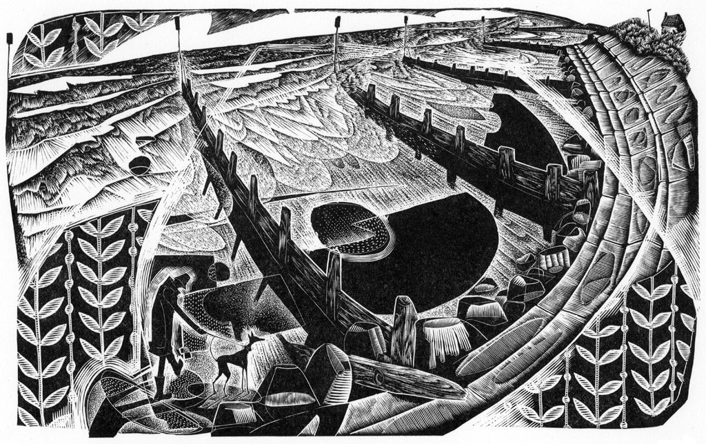 Longshore Drifting - black & white edition - wood engraving