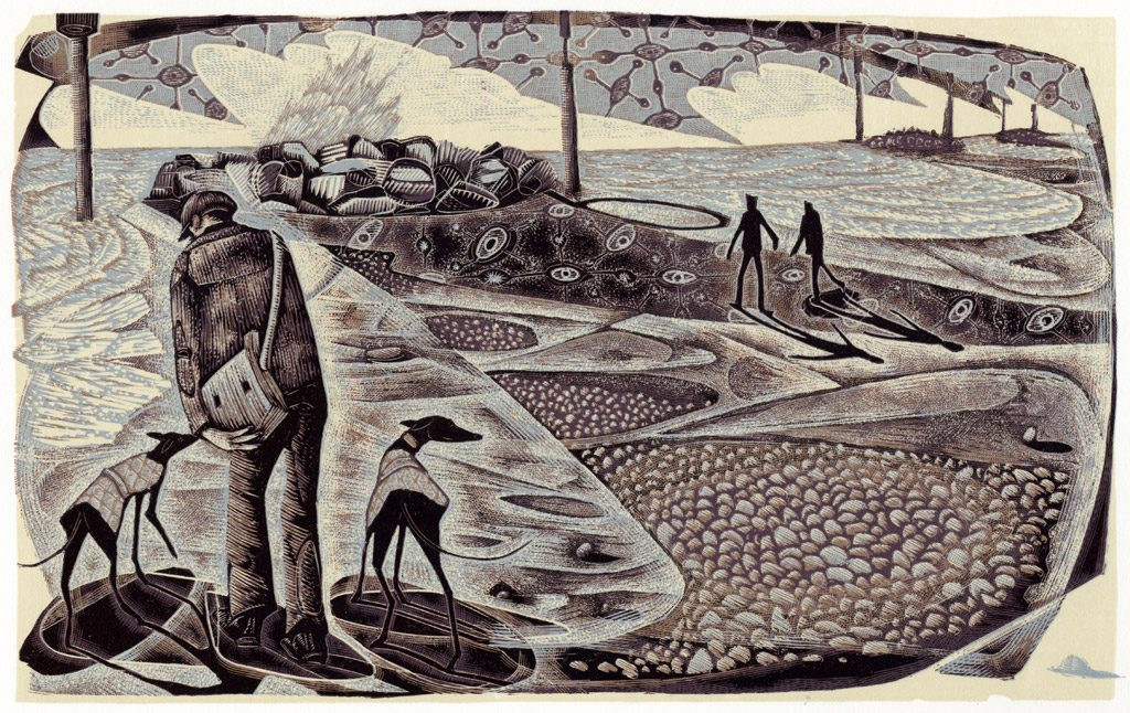 On Eccles Beach - wood engraving