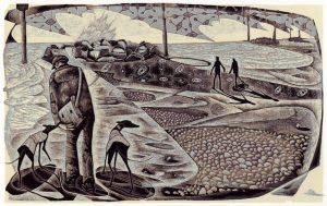On Eccles Beach - wood engraving
