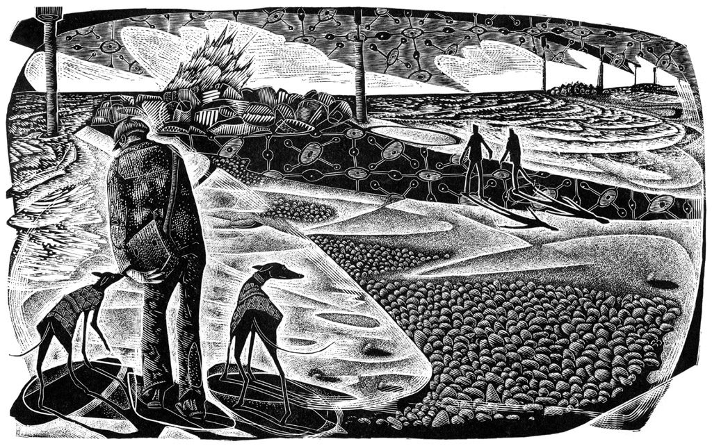 On Eccles Beach - black & white edition - wood engraving