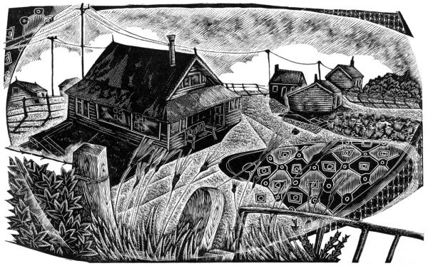 Over the Wall - black & white edition - wood engraving