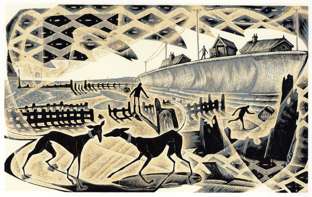 Sea Side Games - wood engraving