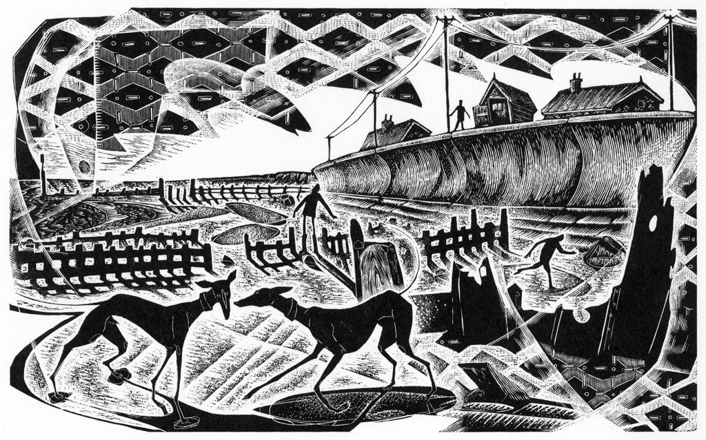 Sea Side Games - black & white edition - wood engraving