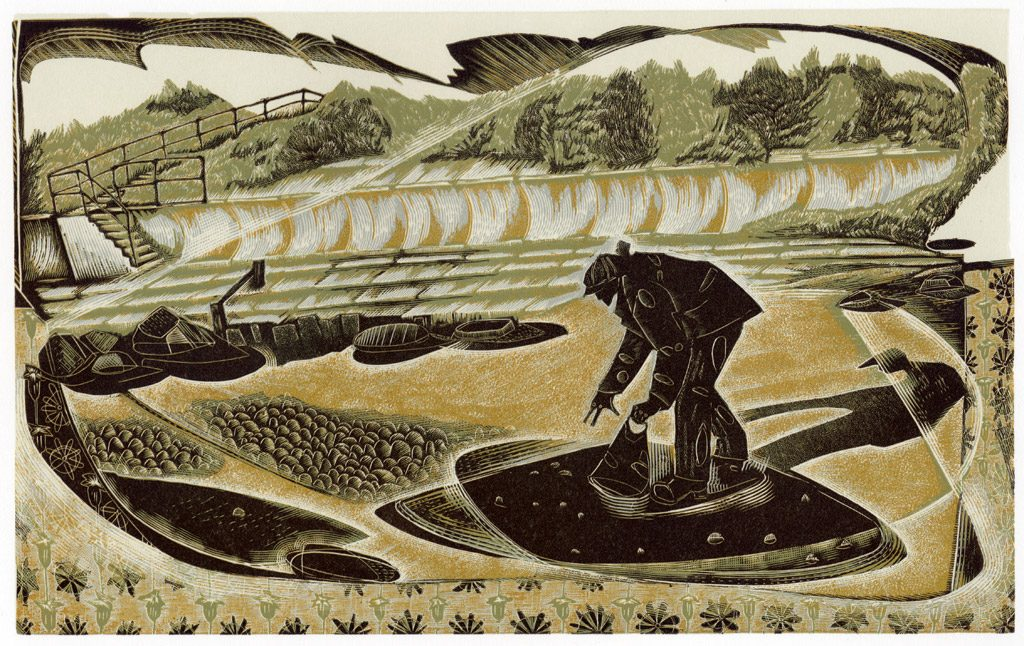 Searching for Amber - wood engraving