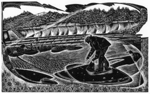 Searching for Amber - wood engraving - black & white edition