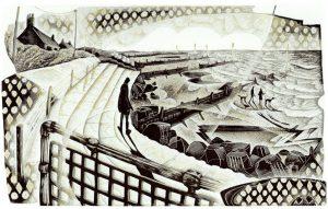Seaside Steps - wood engraving