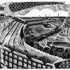 Seaside Steps - black & white edition - wood engraving