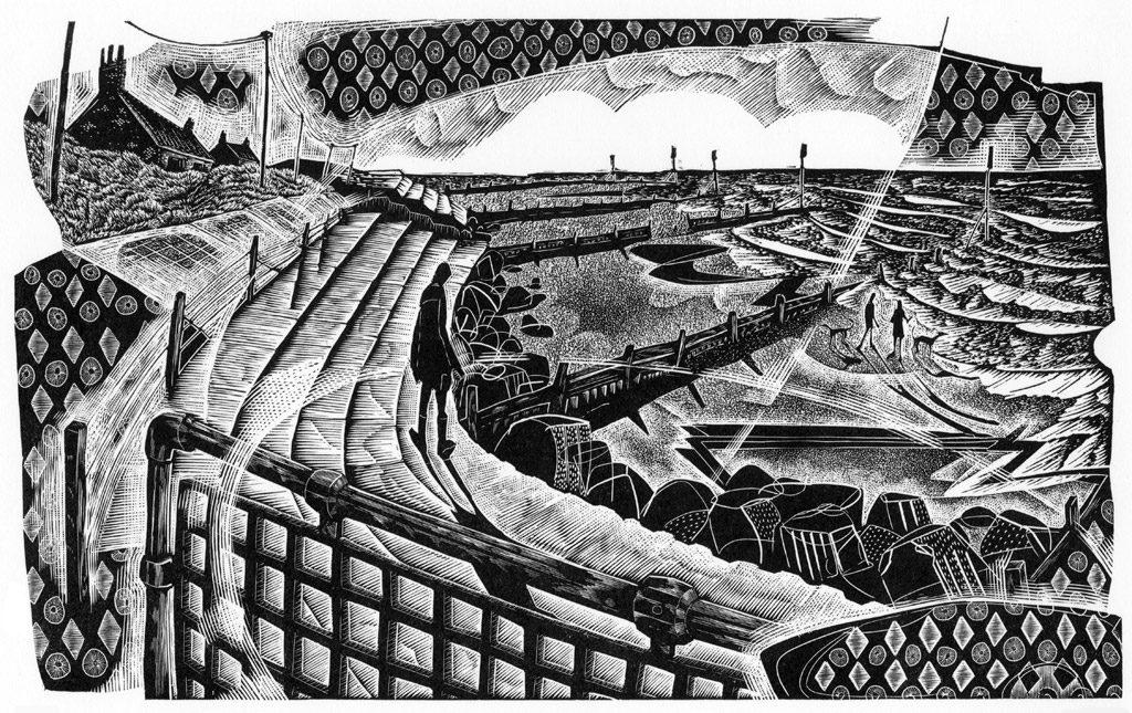 Seaside Steps - black & white edition - wood engraving