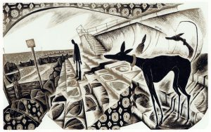 Taking the Sea Air - wood engraving