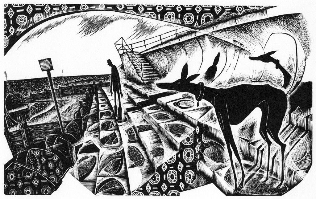 Taking the Sea Air - black & white edition - wood engraving