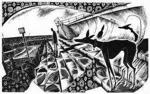 Taking the Sea Air - black & white edition - wood engraving