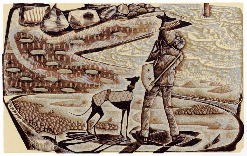 Taking in the View - wood engraving