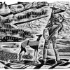 Taking in the View - black & white edition - wood engraving