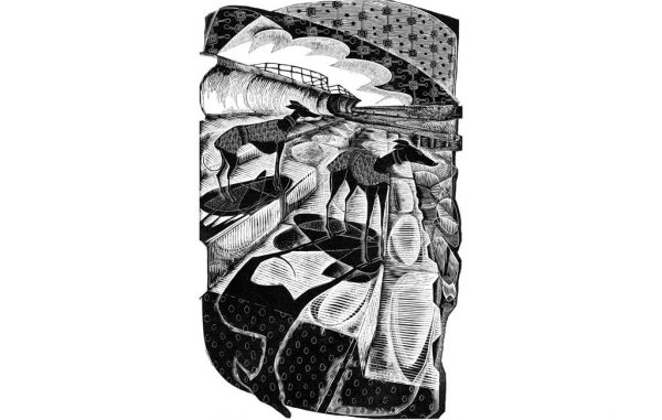 Liquorice Whippets on Eccles Sea Wall II - wood engraving