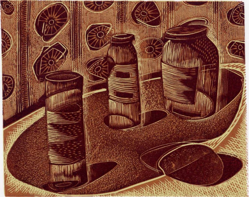 3 Jars and a Potato - wood engraving