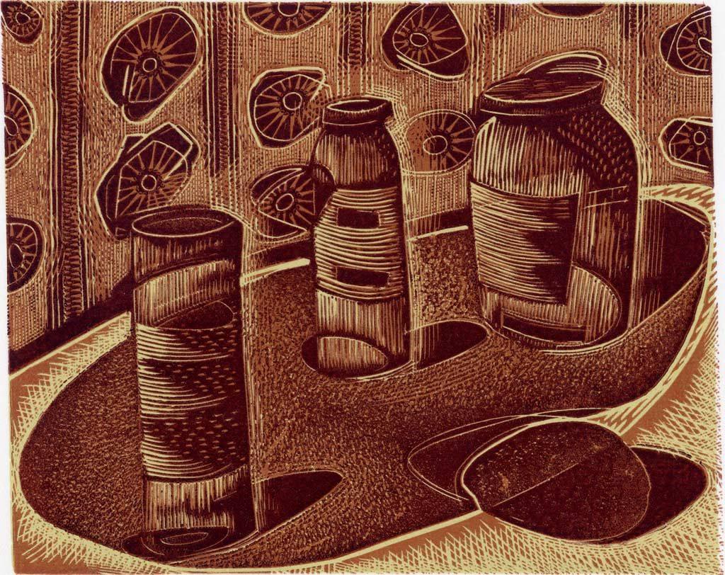 3 Jars and a Potato - wood engraving