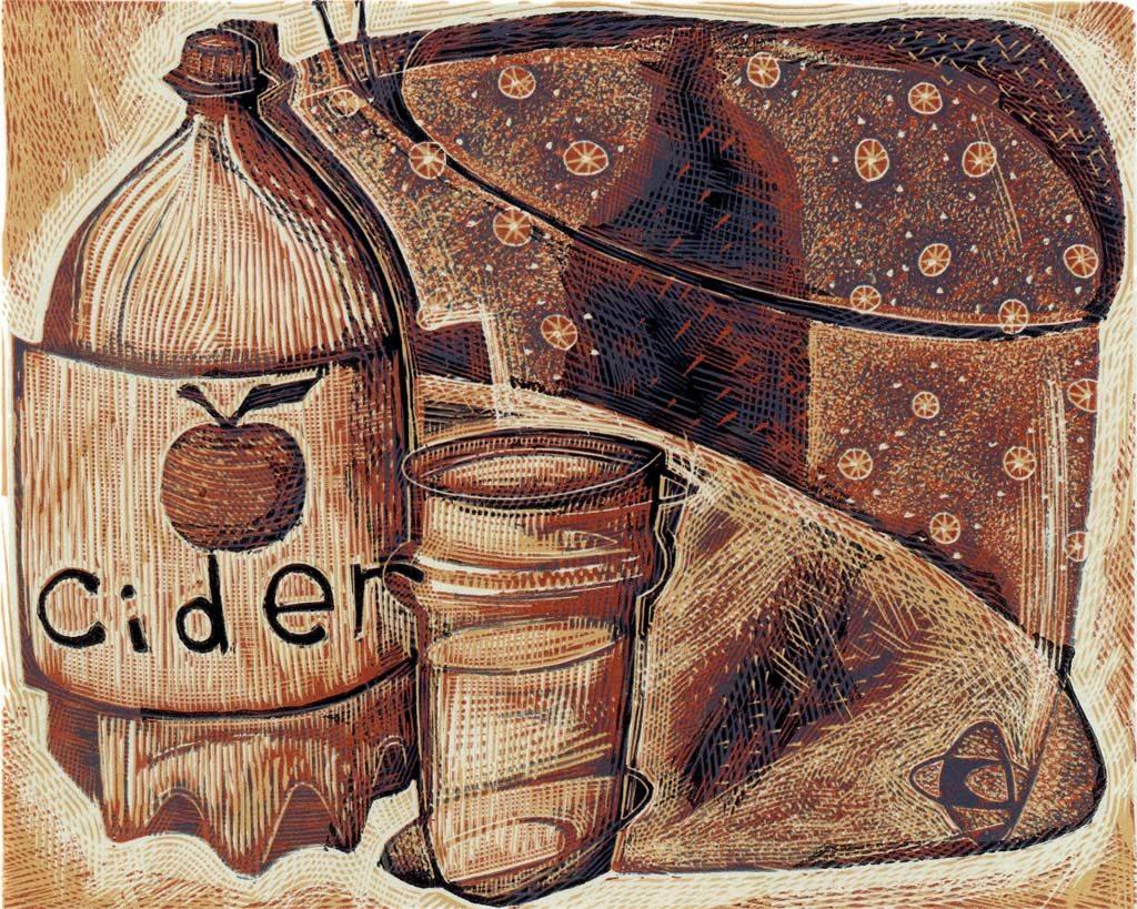Cider Cider Cider - wood engraving