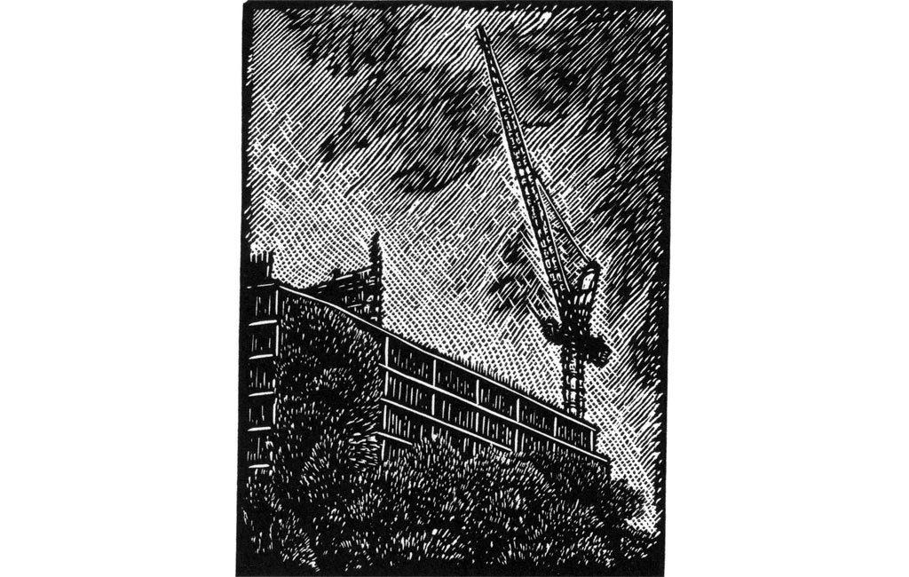 Crane I - vinyl engraving
