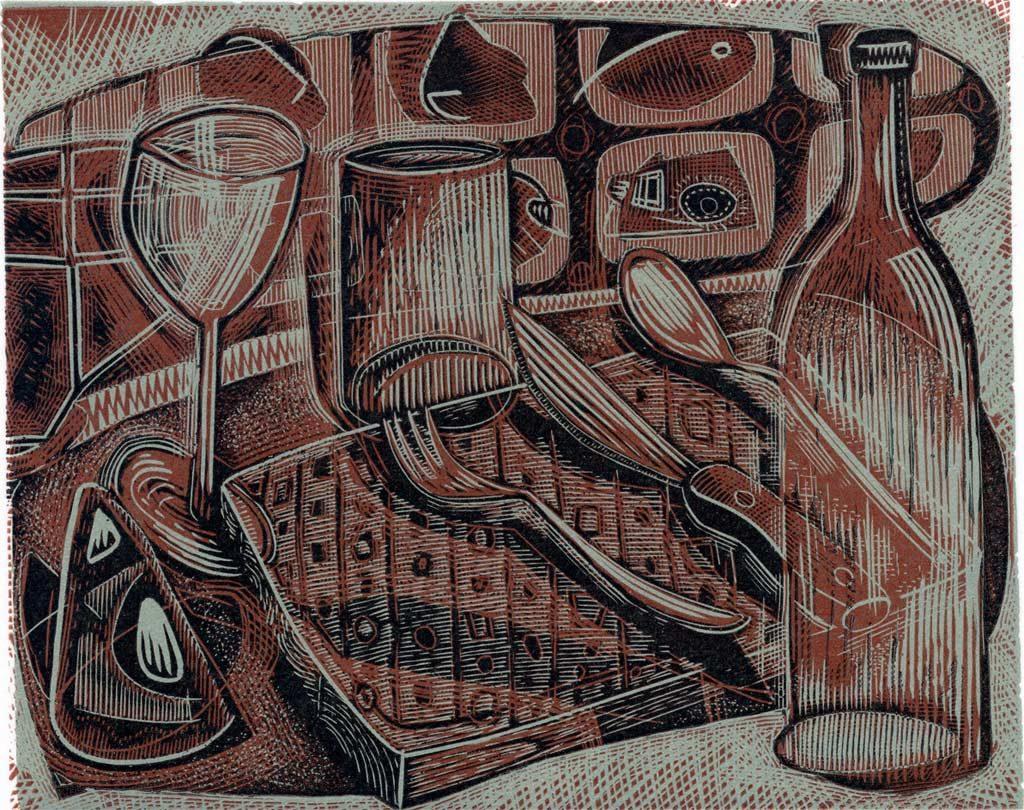 Fork Knife Spoon - wood engraving