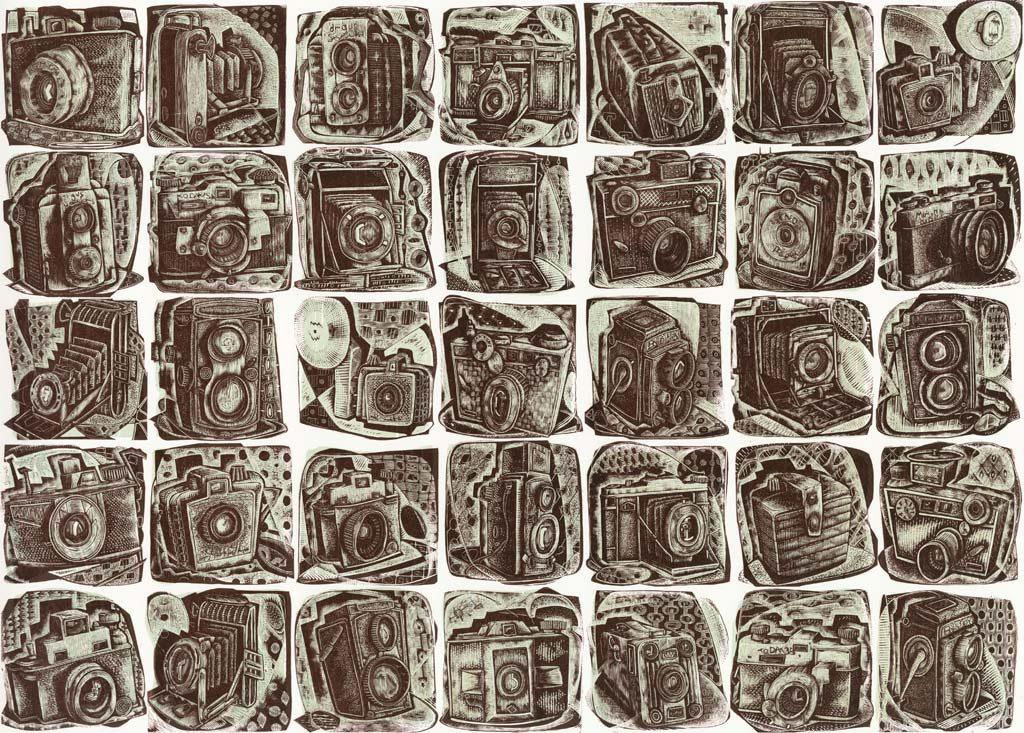 A Load of Old Cameras - wood engraving