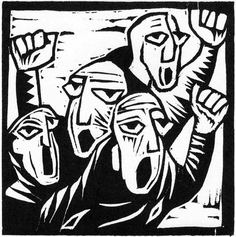Protesters - wood cut