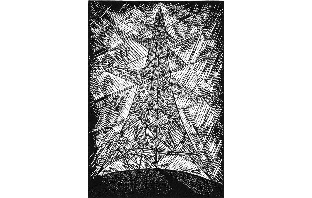 Pylon I - engraving on plastic