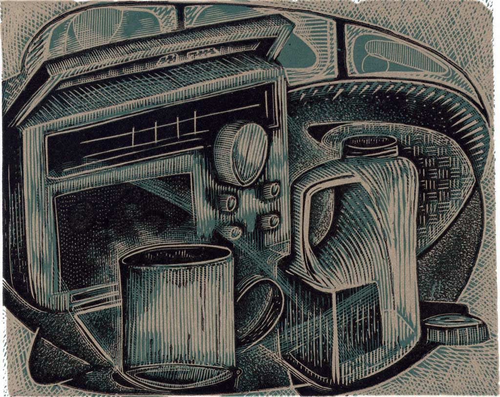 Radio 4 and a Mug of Tea - wood engraving