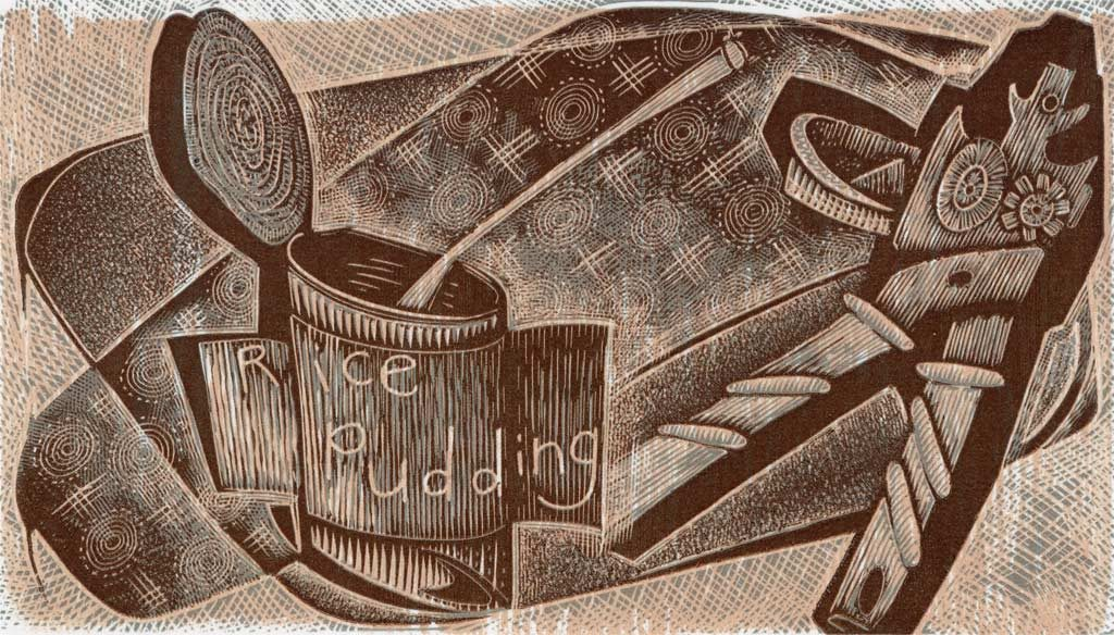 Just a Tin of Rice Pudding - wood engraving