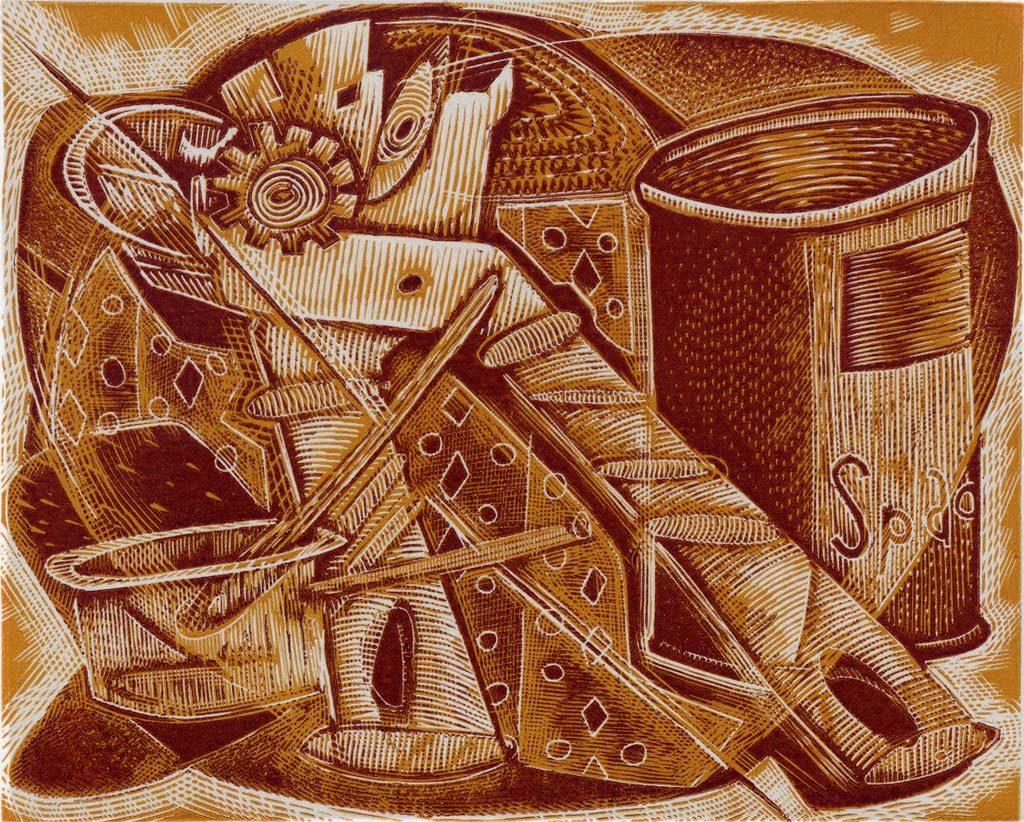 Tinned Spaghetti - wood engraving