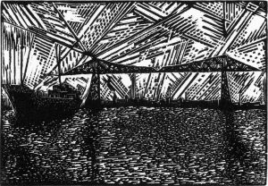 Transporter Bridge I - wood engraving