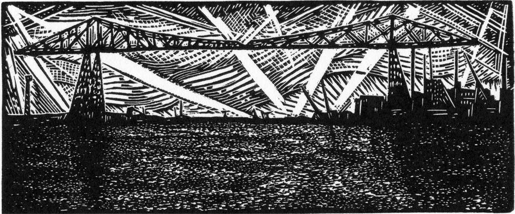 Transporter Bridge II - wood engraving