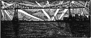 Transporter Bridge II - wood engraving
