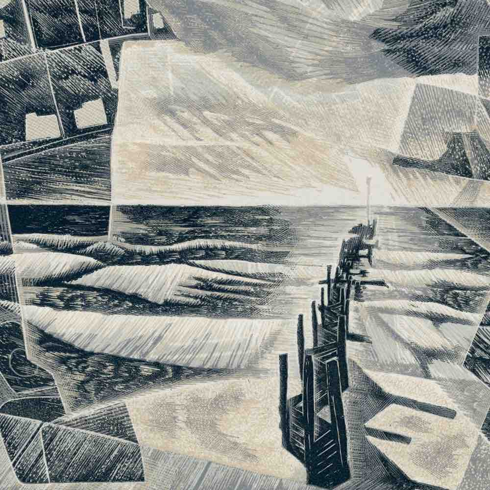 the walcott prints: Cold Cold Sea, engraving by Neil Bousfield