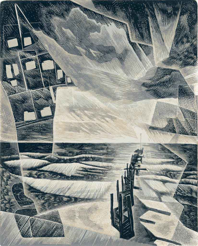 Cold Cold Sea - a wood engraving by Neil Bousfield inspired by the coastal village of Walcott