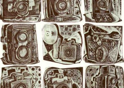 A Load of Old Cameras - wood engraving by Neil Bousfield