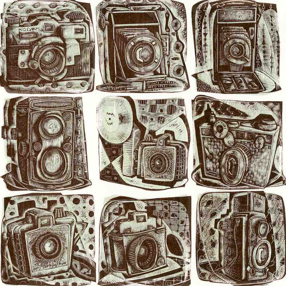 collections and collecting: A Load of Old Cameras, engraving by Neil Bousfield