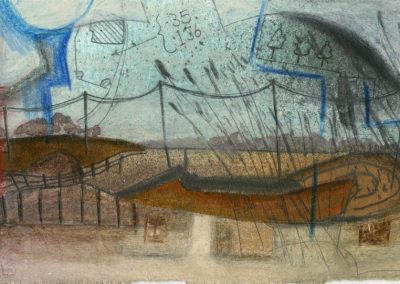 The Broads, Norfolk - composition #03 - mixed media drawing