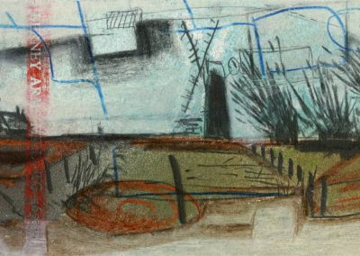 The Broads, Norfolk - composition #04 - mixed media drawing
