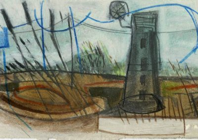 The Broads, Norfolk - composition #07 - mixed media drawing