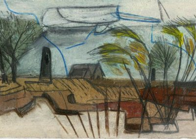 The Broads, Norfolk - composition #10 - mixed media drawing