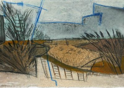 The Broads, Norfolk - composition #12 - mixed media drawing