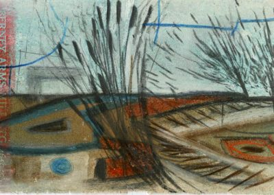 The Broads, Norfolk - composition #15 - mixed media drawing