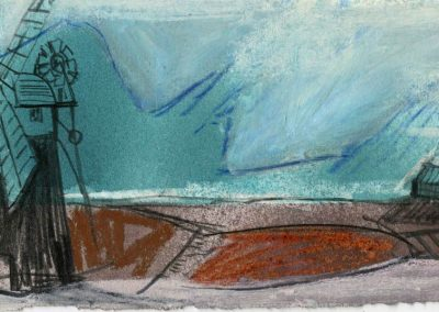 The Broads, Norfolk - composition #17 - mixed media drawing