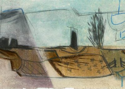 The Broads, Norfolk - composition #18 - mixed media drawing