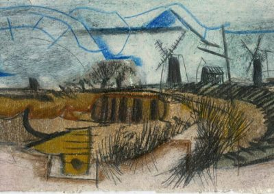 The Broads, Norfolk - composition #19 - mixed media drawing
